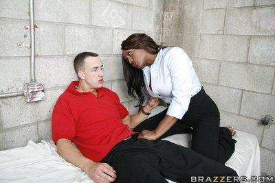 Ebony babe with big juggs Jada Fire has sex with a jailbird