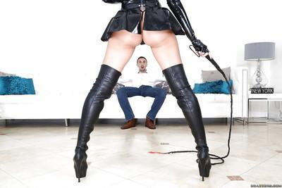 Brunette european milf pornstar Breanne Benson gives a huge blowjob