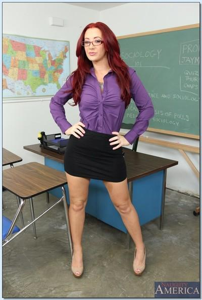 Naughty teacher Jayden Jaymes slipping off her suit and lingerie