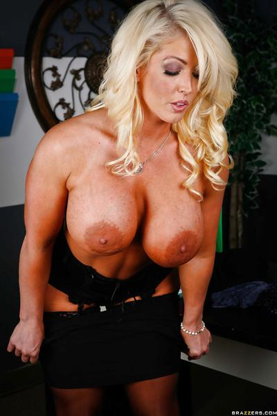 Steaming hot blonde MILF with boobacious tatas gets rid of her clothes