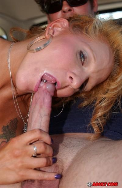 Juggy MILF shows off her titjob and ball licking skills on the back seat