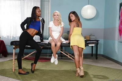 Asian girl Kaylani Lei, Ebony chick Madison Scott and Marie Luv have lesbian sex