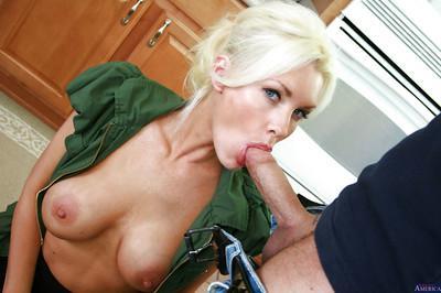 Blonde teacher Brandi Edwards has her milf big tits teased