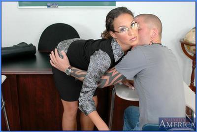 MILF teacher in glasses Adriana Deville fucks and takes creamy facial