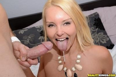 Blonde milf Aaliyah Love opens her mouth and gets hard stick inside