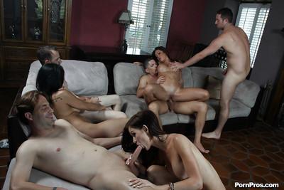 Bukkake scene featuring slender big tits Asian milf Mia Lelani