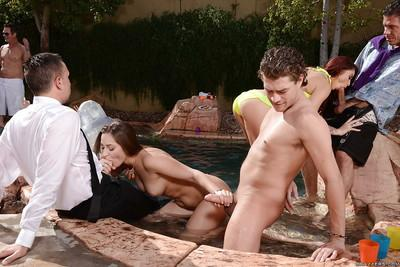 Sexy milfs Dani Daniels and Monique Alexander on a crazy pool party