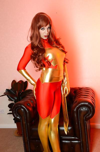 Stunning cosplay with a hot redhead Sophie Parker in the living room