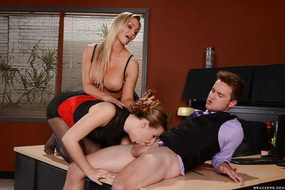 Busty office babes suck big dick at work and swallow cumshots