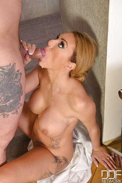 Chesty Euro MILF Stacey Saran deepthroating cock in shower during blowjob