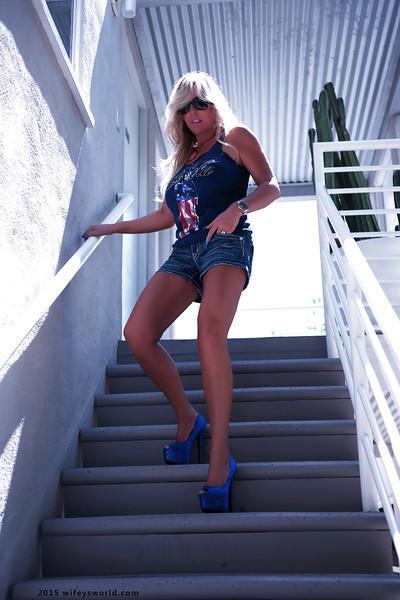 Beautiful blonde housewife Sandra Otterson flashing her big knockers