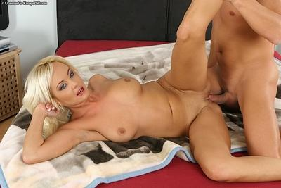 Lecherous blonde MILF gets fucked and takes cum in her mouth
