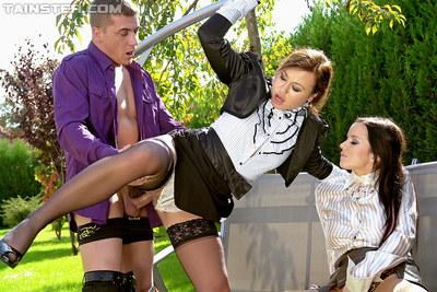 Hot MILFs Cindy Dollar & Gioia Biel are into fully clothed groupsex outdoor
