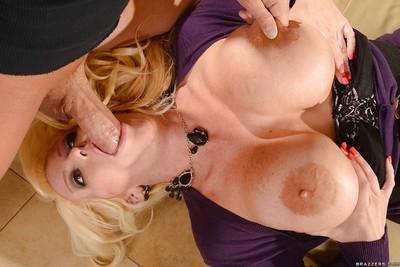 Curvy blonde Alura Jensen leans back for face fucking and cum injection
