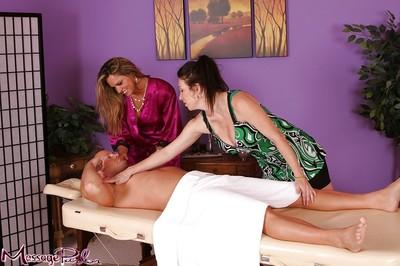Nice massage and blowjob with happy ending provided by Rayveness and Amanda