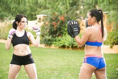 Kickboxers Adrianna Luna and Megan Rain giving each other nude massage