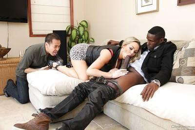 Blonde slut Abbey Brooks taking huge black cock in filthy mouth