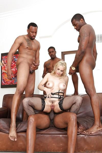Dirty white slut Sarah Vandella banging lots of big black dick