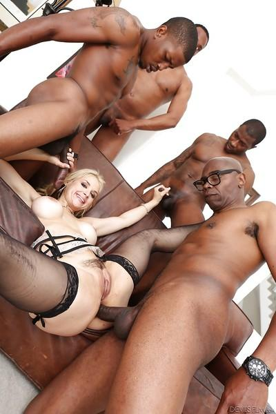 Dirty white slut Sarah Vandella banging lots of big black dick