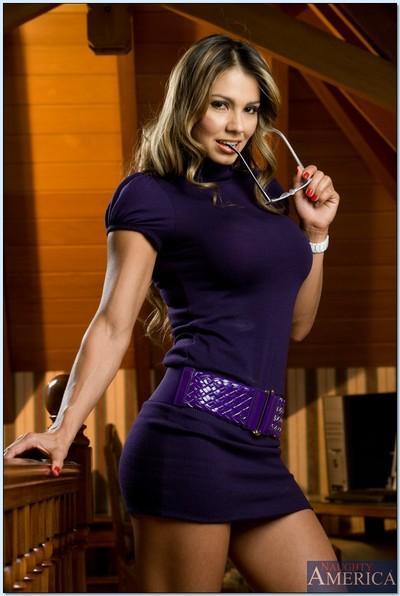Foxy MILF latina teacher Esperanza Gomez strips her classy lingerie.