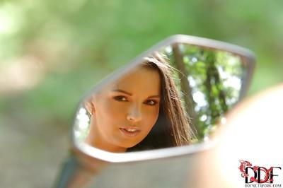 Ravishing brunette hottie with flawless curves gets rid of her bikini outdoor