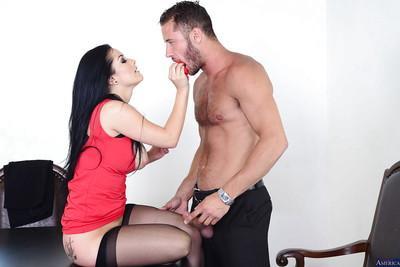 Brunette milf Katrina Jade dose some posing in her black stockings