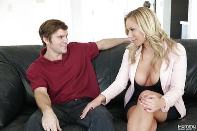 Clothed blonde mom Olivia Austin seduces fat cock for deepthroat blowjob