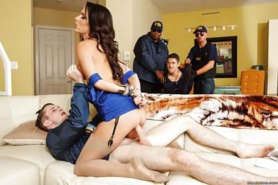 Wife brunette Jessica Jaymes gets tied and fucked in her nice ass