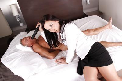 Euro Milf Ashley Dark toying pussy and facesitting on older man
