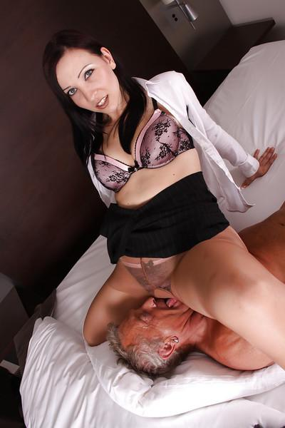 Euro Milf Ashley Dark toying pussy and facesitting on older man