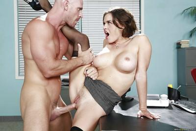 Titty babe Krissy Lynn poses naked and plays with boss