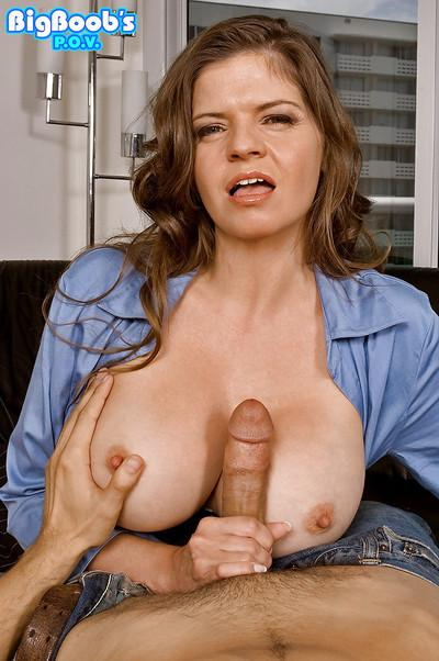POV handjob with cumshot finish in office for busty mom June Summers