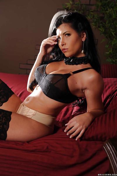 MILF pornstar Rebeca Linares takes off her amazing black lingerie