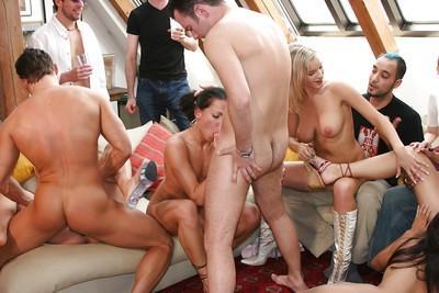 Saucy MILF Sandra De Marco enjoys hardcore sex party with her friends