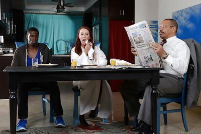 Interracial fuck scene demonstrates hairy pussy of milf Janet Mason