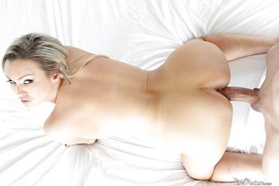Adorable blonde girl Abbey Brooks wrapping willing lips around a thick cock