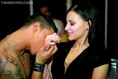 Lecherous sluts give a slurpy blowjob to a black stud at the CFNM party