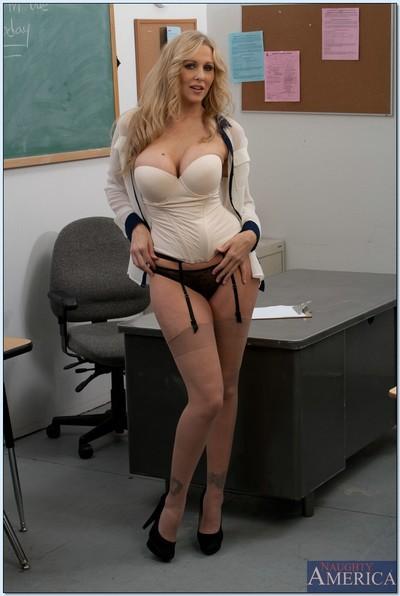 MILF teacher babe Julia Ann shows her amazing body in the classroom