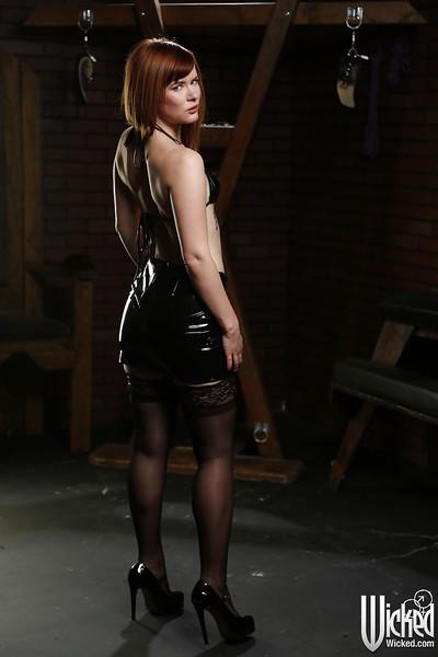 Babe milf Claire Robbins takes off her amazing-looking leather skirt