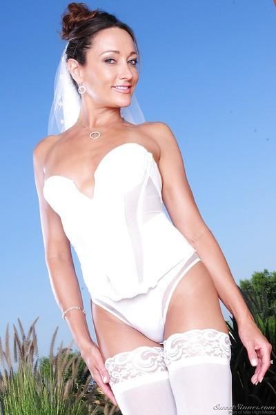 Naughty bride in white nylon stockings Michelle Lay stripping