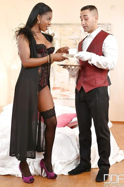 Hot black babe Jasmine Webb taking white dick from butler in cunt