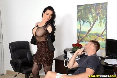 Close up fuck scene in the office with a busty secretary Isabella Madison