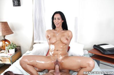 Milf Latina Isis Love has her oiled big tits teased by her man