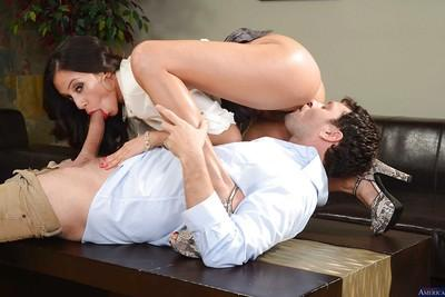 Busty brunette Ariella Ferrera is playing with her new cocky friend