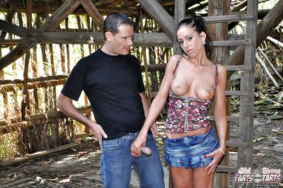 Big tits Latina has her milf cunt pounded hard outdoor in a barn