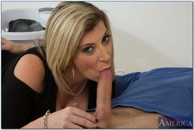 Lusty MILF Sara Jay gives a titjob and gets her shaved twat drilled hard