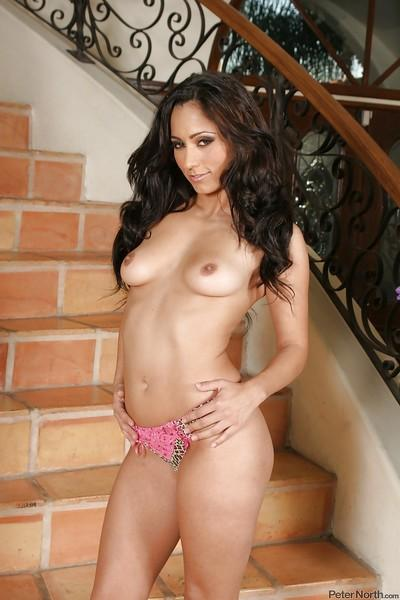 Graceful brunette babe Reena Sky slipping off her lingerie