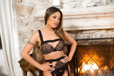 Asian solo girl Kaylani Lei strips off dress to pose in sexy lingerie