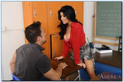 Steaming hot teacher with awesome cans Romi Rain gets her cunt cocked up