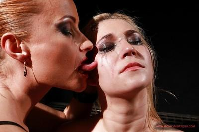 Babe with tiny tits Linda Ray gets abused by her mistress Katy Parker